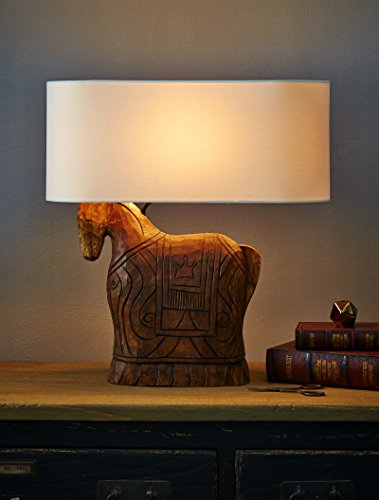 O'THENTIQUE Hand Carved Solid Wood Horse Table Lamp with Ivory Linen Oval Shade (Black Forged Table Lamp)