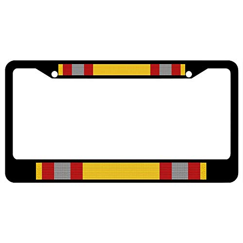Coast Guard Auxiliary Sustained Service Award Ribbon Customized Car License Plate Frame Military, Durable Stainless Steel License Plate Holder for Standard US Vehicles, 2 Holes & Screws