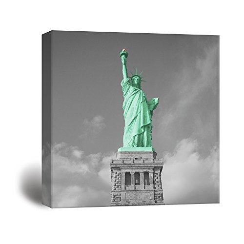 Black and White Photograph with Pop of Color of The Statue of Liberty