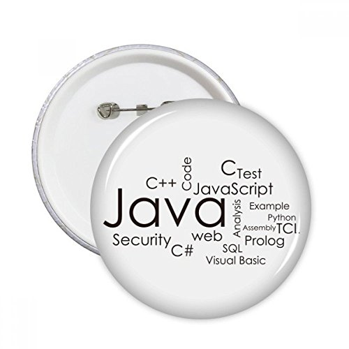 Programmer Program Related Java Round Pins Badge Button Clothing Decoration Gift 5pcs