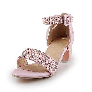 LvYuan Mujer-Tacón Robusto-Otro Zapatos del club Confort Innovador-Sandalias-Boda Fiesta y Noche Vestido-Semicuero Purpurina Materiales Pink