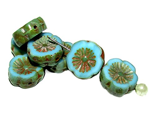 Pressed Glass Flower Beads - 7