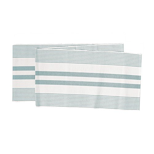 C&F Home Classic Stripe Woven Sea Glass Blue Green & White Stripe Woven Table Runner Table Runner Sea Glass ()
