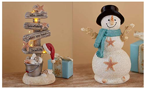 LTD Coastal Holiday Decor Collection Snowman Figurine & Lighted Christmas Tree Set Seaside Beach Idea ()