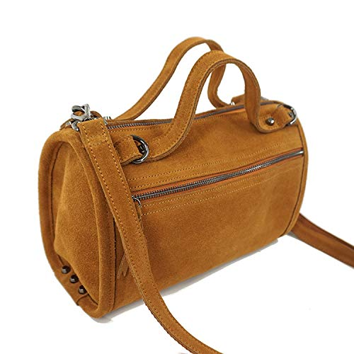 Suede Genuine Leather Rivet Shoulder Bag For Women Leisure Small Boston Handbag Nubuck Bowler Crossbody Bag,Brown