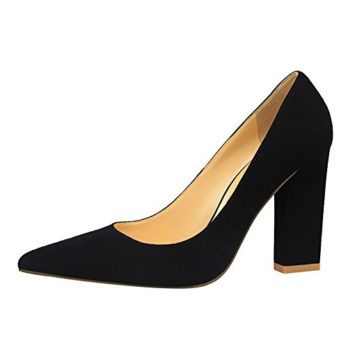 Odomolor AmagooTer Women's Blend Materials High-Heels Pointed-Toe Pull-On Pumps-Shoes Blackrm HDHxsQjP