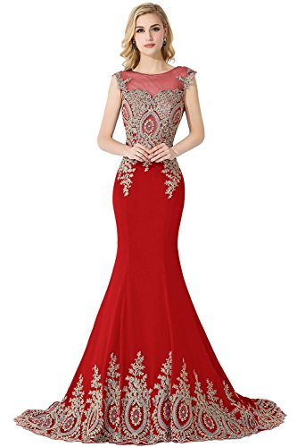 Meerjungfrau Mit Abendkleid Damen Ballkleider Applikation Tüll Babyonlinedress® Rot Lang Partykleid Ärmellos TCxRqqfw