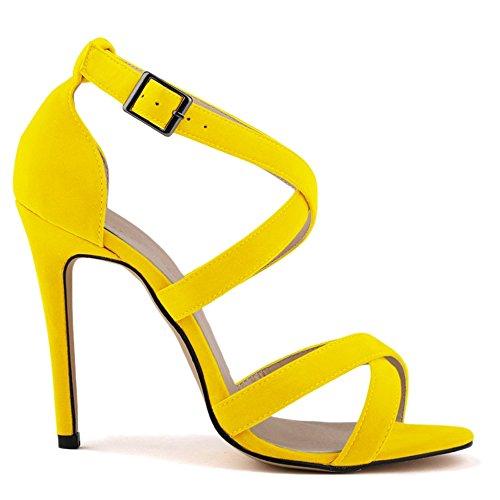 Sandals Jaune Escarpins Kunsto Pour Femme qgPInndx1w