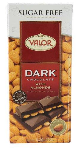 Valor Chocolates Sugar Free Dark Chocolate with Almonds -- 5.29 oz - 2 pc (Sugar Free Chocolate Almonds)