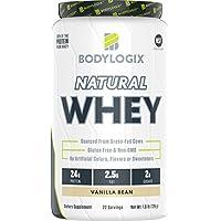 Bodylogix Natural Grass-Fed Whey Protein Powder, NSF Certified, Vanilla Bean, 1.6 Pound