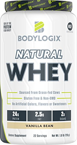 (Bodylogix Natural Grass-Fed Whey Protein Powder, NSF Certified, Vanilla Bean, 1.6 Pound)
