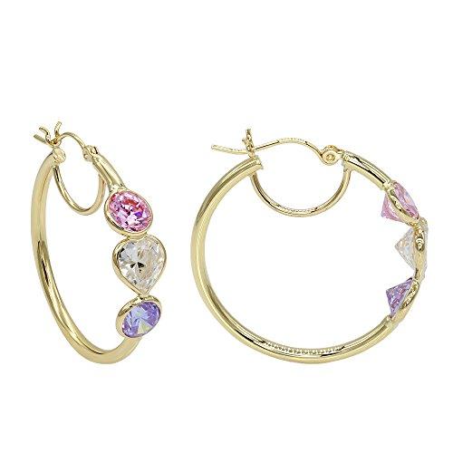 Aleksa 14k Yellow Gold Three-stones Heart, Round White,Pink,Light-Purple Cubic-Zirconia Hoops Earrings (Hoop Heart Pink)