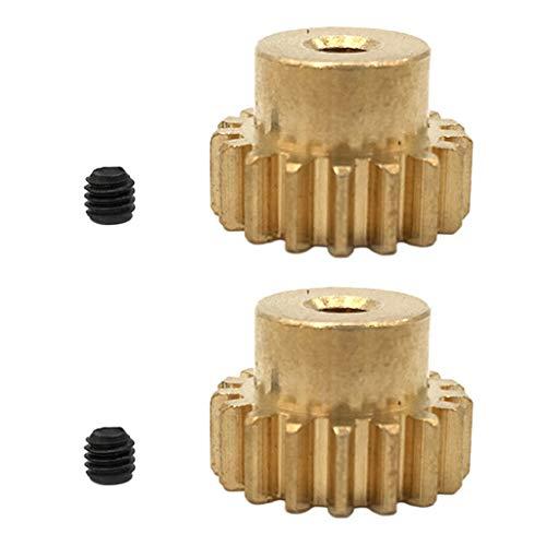 Hockus Accessories 2X Brass Motor Gear Metal Pinion 17T for 3.175mm Diameter Shaft RC Car Model