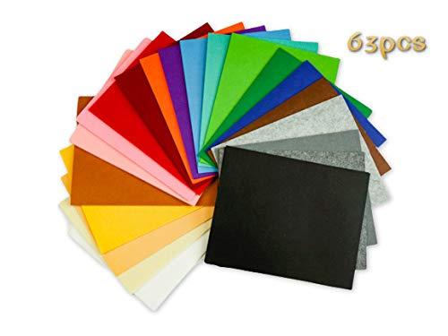 (Woolous 63 pcs Felt Sheets,10X8 Inch(25.5X20.4cm) 21Different Color, Non Woven Felt Fabric Patchwork Sewing Square DIY Craft 1mm Thick, It's The Best Gift for Nursery School Child)