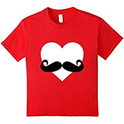 Kids Heart Mustache Tshirt Funny Valentine Day Boys Men Love Cute 8 Red