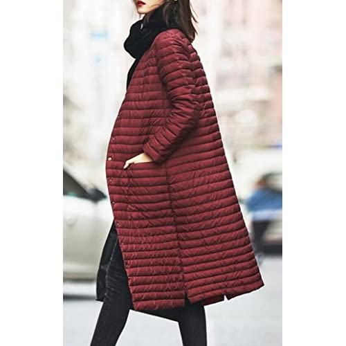 6019b39a77c ouxiuli Women s Classic Lightweight Long Sleeve Slim Fit Plus Size Long  Puffer Jacket Coat