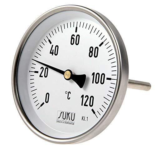 NEU OVP SUKU Bimetall-Zeiger-Thermometer Ø 100 120Grad Anschluss hinten 0 bis