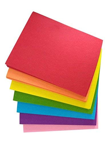Woolous 42 pcs 10X8 Inch(25.5X20.4cm) Assorted Color Non Woven Felt Fabric Sheets Patchwork Sewing Square DIY Craft 1mm ()