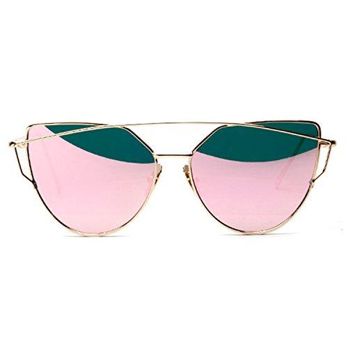 UV400 de Cateye de Chat Sunglasses Fille Miroité Verres Lentille Œil Plats Lunette Femmes Soleil Polarisées SUNVON Rose Unisex B54qZwOn