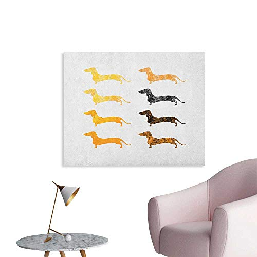 Anzhutwelve Dachshund Wall Sticker Decals Vintage Dog Silhouettes with a Grunge Theme Domestic Pets Pattern Wall Poster Marigold Black Orange W36 xL32