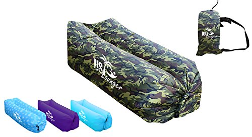 Lounger Camo - US Lounger Camouflage Fast Inflatable Portable Outdoor or Indoor Wind Bed Lounger, Air Bag Sofa, Air Sleeping Sofa Couch, Lazy Bed for Camping, Beach, Park, Backyard