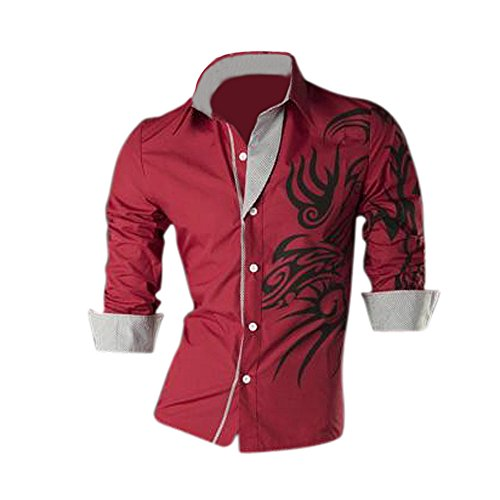 SODIAL(R) Cool Hommes Europ¨¦enne Dominatrice Dragon Conception Chemise Mince Fit Attrayante Chemise Rouge Taille XXXL