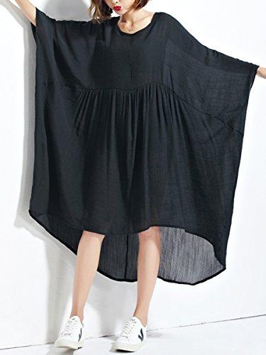 Bouffant A Pure Black Manches GA861 Chauve Robe Couleur Femme Lache ELLAZHU souris fH0OOA