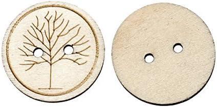 El botón de perlas y caja de madera – 10 Invierno Árbol Diseño botones 25 mm. Ideal para costura, postales, álbum de siluetas y otros proyectos creativos: Amazon.es: Hogar