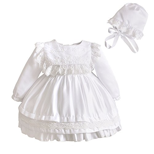 Romping House Baby Girls Christening Long Sleeve Embroidered Organza Satin Dress With Bonnet Ivory Size 6M