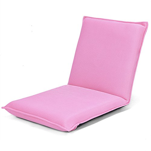 Pink Mesh Cloth Floor Chair Folding Lazy Sofa Cushion Seat w/6 Adjustable Position by FDInspiration
