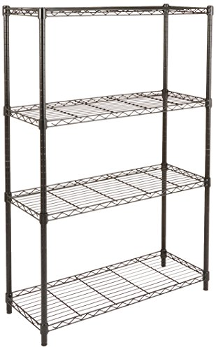(AmazonBasics 4-Shelf Shelving Storage Unit, Metal Organizer Wire Rack, Black)