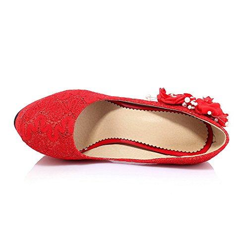 AllhqFashion Mujeres Tacón de aguja Puntera Redonda Cerrada Sólido Sin cordones De salón Rojo