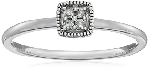 Gold Diamond Stack Ring (10k White Gold Diamond Accent Cushion Stack Ring, Size 6)