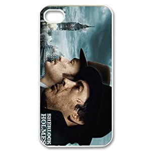 Movie Series DIY Cellphone Hard Back Skin Case For iPhone 4,4s(White Shell)-Sherlock Holmes