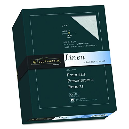 Gray Letter Laser Paper (Southworth Linen Business Paper, 24 Lb., Letter Size, Gray, 500 Sheets (574C))