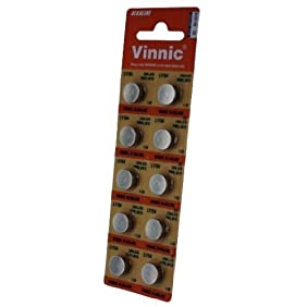 10 x Vinnic Size LR44 V357 357 AG13 L1154 Alkaline Watch Battery
