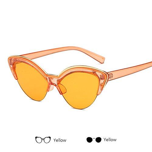 Moda Señoras Mujer Sol Bastidor Gris Amarillo anteojos Gafas ZHANGYUSEN Hombres Retro Sol Hembra Gato de 2 Medio Gafas Diseñadores de de de Ojo zUxqFXS