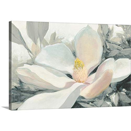 GREATBIGCANVAS Gallery-Wrapped Canvas Entitled Majestic Magnolia Green Gray Crop by Julia Purinton ()