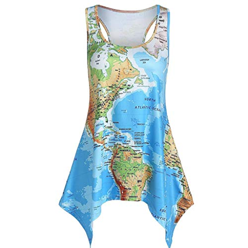 Funnygals Womens Tank Tops Summer Sleeveless Crew Neck World Map Printed Cami Swing Tunic Tops Pleated Tank Top Blouses Blue