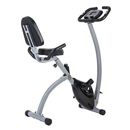 GOJOOASIS Folding Exercise Bike Magnetic Indoor Cycling Portable Stationary Upright X Bike w/Backrest
