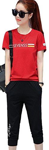 (ケイミ)KEIMI ジャージ レディース 上下 スポーツウェア ゴルフウェア スウェット Tシャツ セットアップ 大きいサイズ (レッド+黒, M)