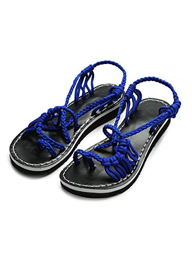 Festnight Flat Sandals for Women, Women's Retro Sandals Bohemia Braided Strap Flat for Summer Blue