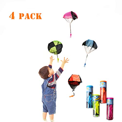 kizh Tangle Free Throwing Figures Hand Throw Soliders Parachute Men Children's Flying Toys 4 Pack Parachute Square Garden Outdoor Play Game Toy -