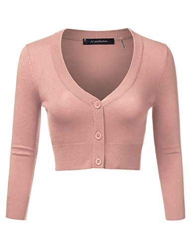 JJ Perfection Women's Solid Woven Button Down 3/4 Sleeve Cropped Cardigan PEACHBEIGE 2XL