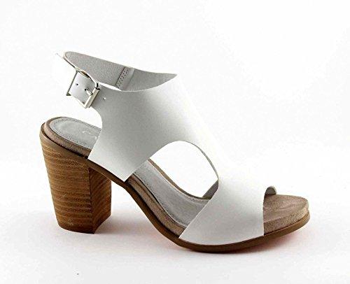 CAF NOIR LB914 heel strap sandals white woman Bianco DZK05hMk7s