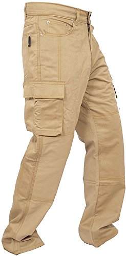 Newfacelook New Motorcycle Working Cargo Trousers Jeans Pants with Aramid Protective Lining Brown