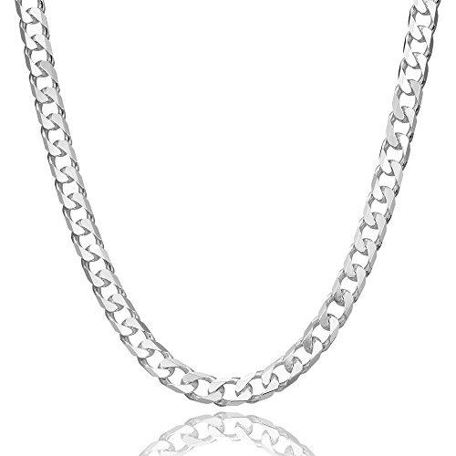 5mm thick solid sterling silver 925 Italian flat diamond cut Cuban curb cable link chain necklace chocker with lobster claw clasp - inch 14