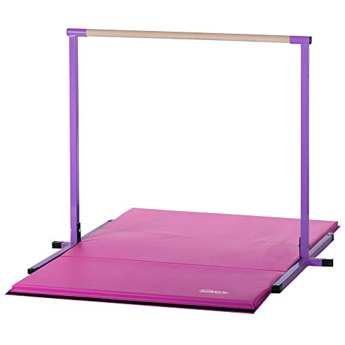 4ft Purple Horizontal Bar and 6ft Pink Folding Gym Mat