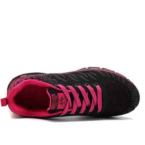 Sport Multisports Running Femme Gym Outdoor Mode Rouge Basses Sneakers Fitness Chaussure Fexkean 40 Fille Basket De Course 35 Rose Noir P0x08q