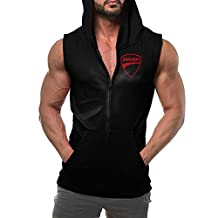 Ducati Motorcycle Red Logo Men's Zip Hoodie Sweatshirt Sleeveless With Pocket